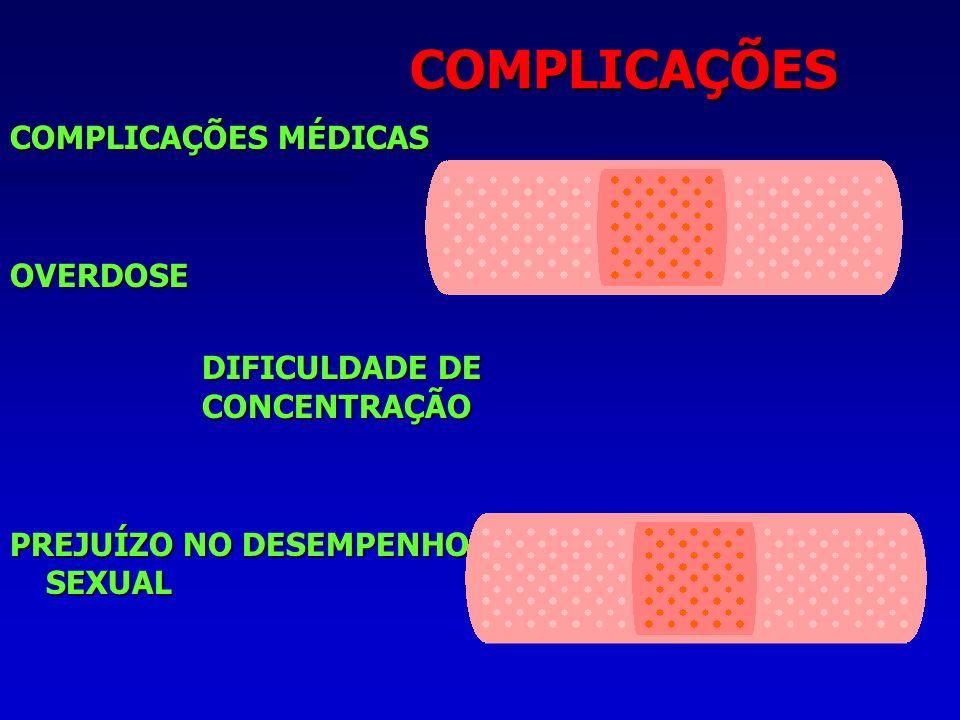 COMPLICAÇÕES COMPLICAÇÕES MÉDICAS OVERDOSE DIFICULDADE DE CONCENTRAÇÃO