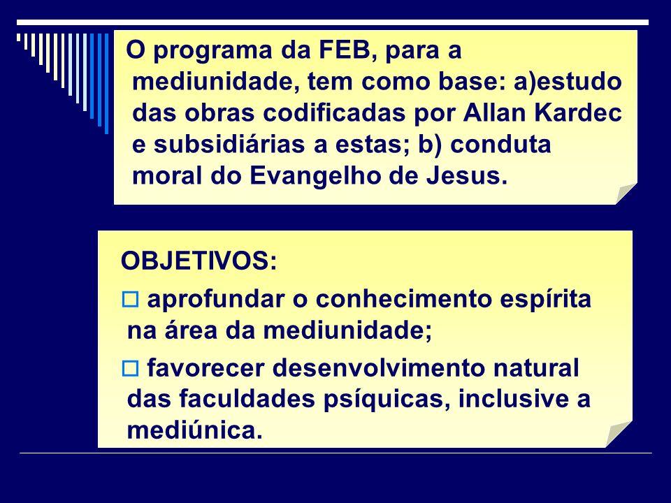 O programa da FEB, para a mediunidade, tem como base: a)estudo das obras codificadas por Allan Kardec e subsidiárias a estas; b) conduta moral do Evangelho de Jesus.