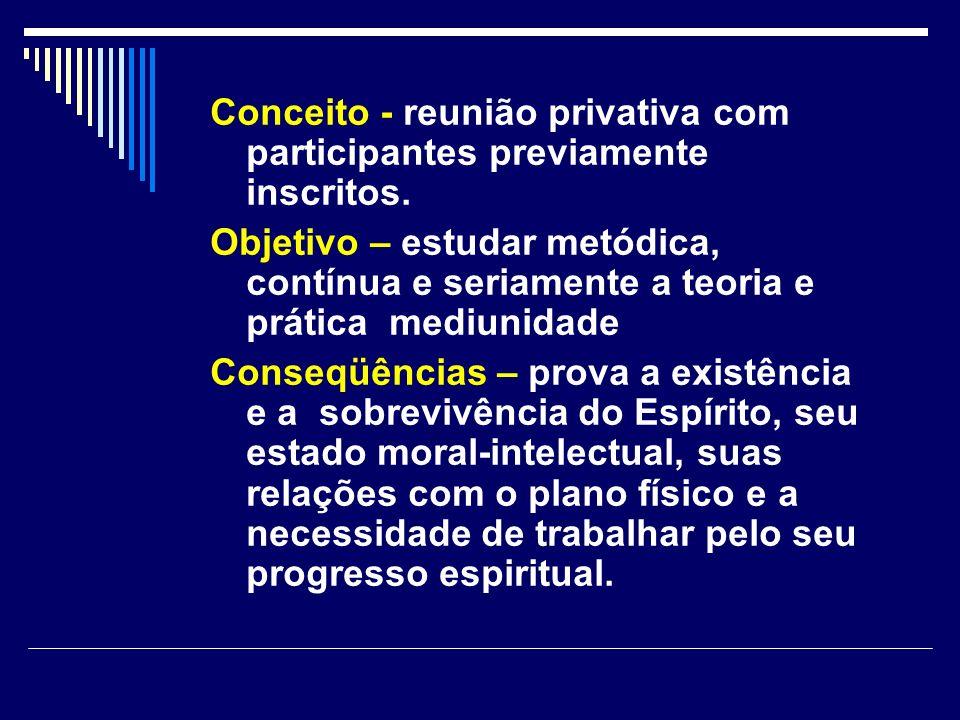 Conceito - reunião privativa com participantes previamente inscritos.