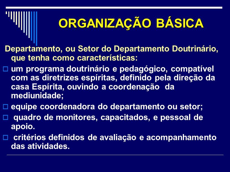 ORGANIZAÇÃO BÁSICA Departamento, ou Setor do Departamento Doutrinário, que tenha como características: