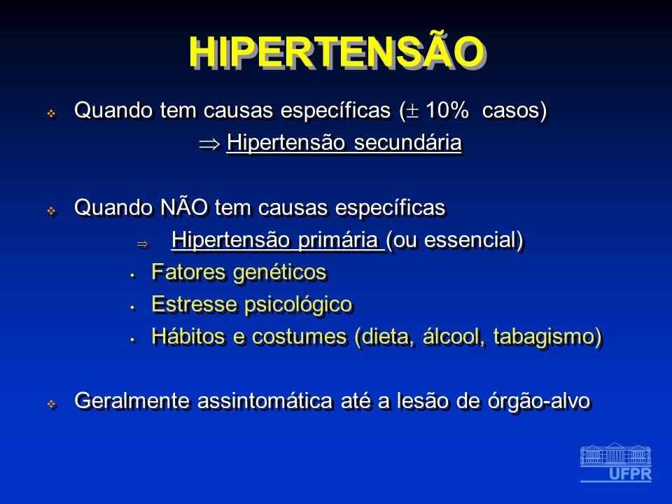HIPERTENSÃO Quando tem causas específicas ( 10% casos)