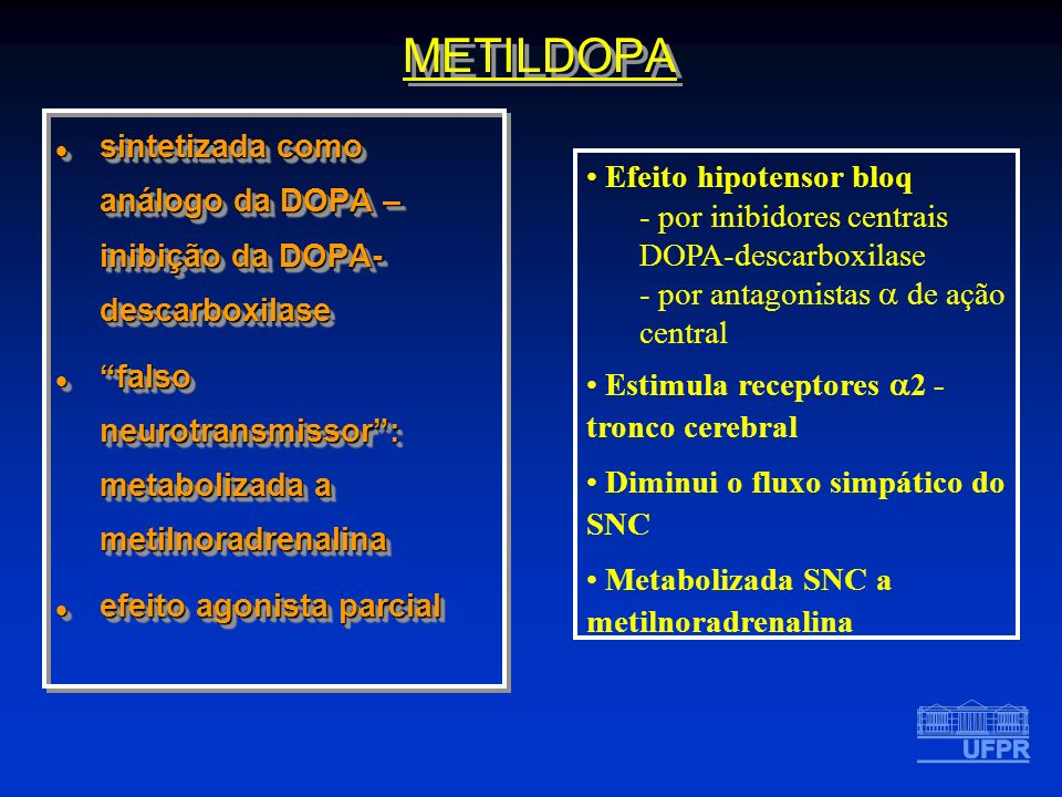 METILDOPA sintetizada como análogo da DOPA – inibição da DOPA-descarboxilase. falso neurotransmissor : metabolizada a metilnoradrenalina.