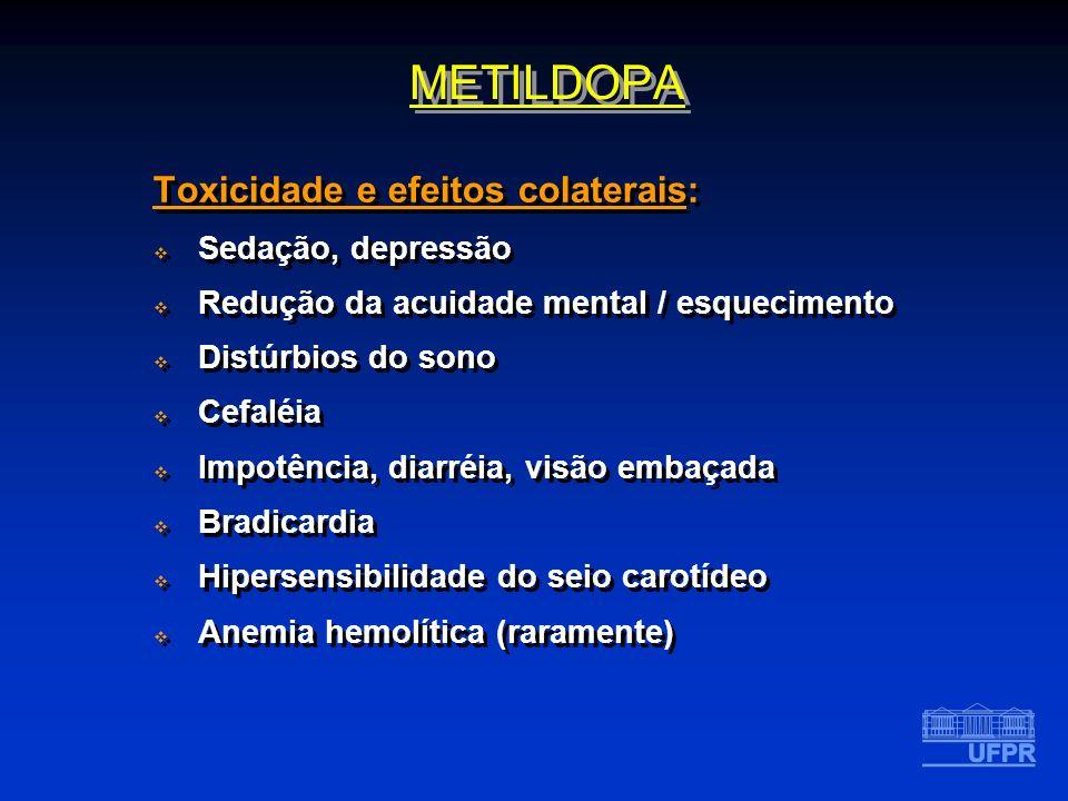 METILDOPA Toxicidade e efeitos colaterais: Sedação, depressão