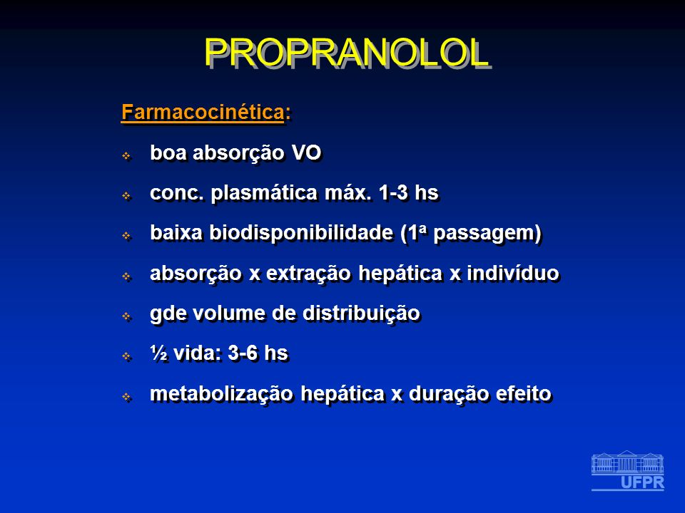 PROPRANOLOL Farmacocinética: boa absorção VO