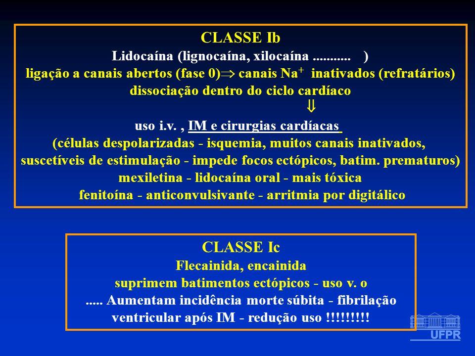 CLASSE Ib CLASSE Ic Lidocaína (lignocaína, xilocaína ........... )