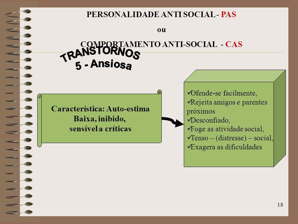 TRANSTORNOS 5 - Ansiosa PERSONALIDADE ANTI SOCIAL - PAS ou