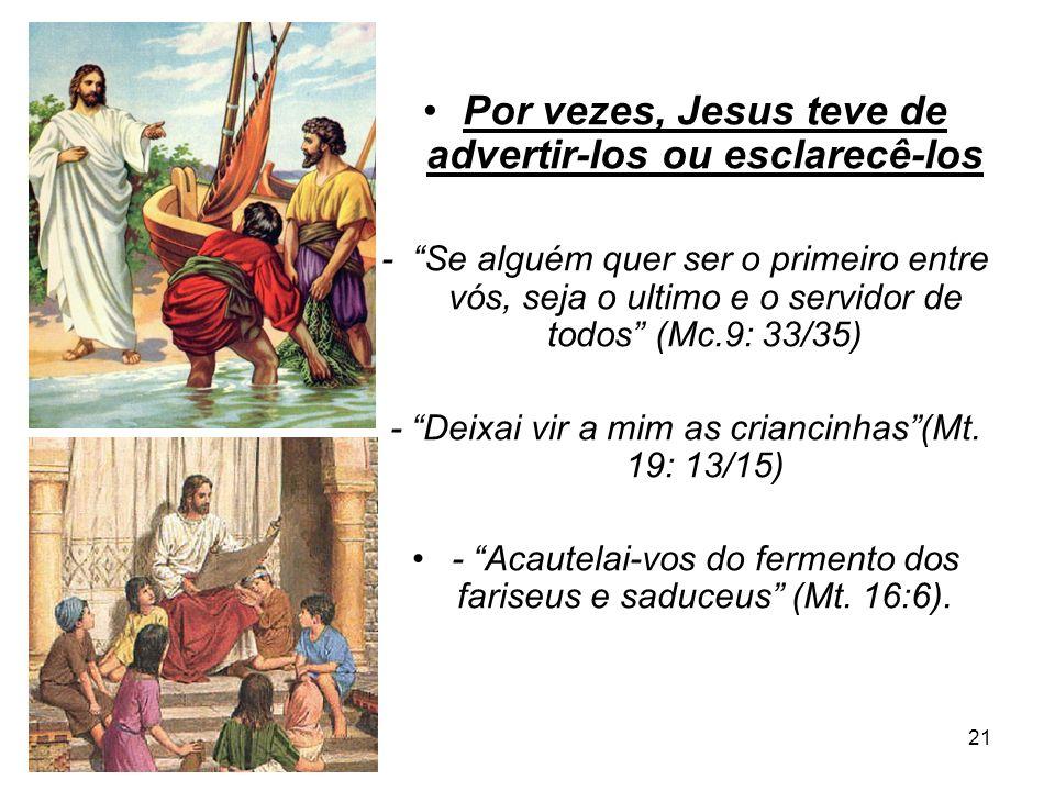 Por vezes, Jesus teve de advertir-los ou esclarecê-los