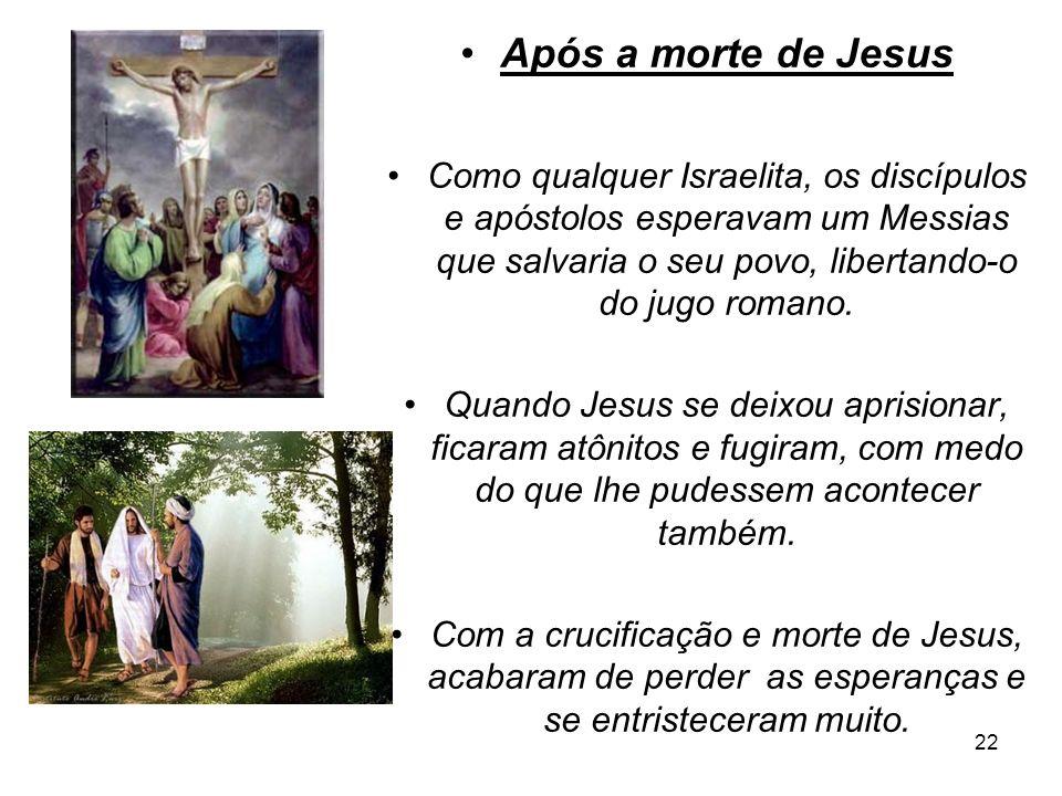 Após a morte de Jesus Como qualquer Israelita, os discípulos e apóstolos esperavam um Messias que salvaria o seu povo, libertando-o do jugo romano.