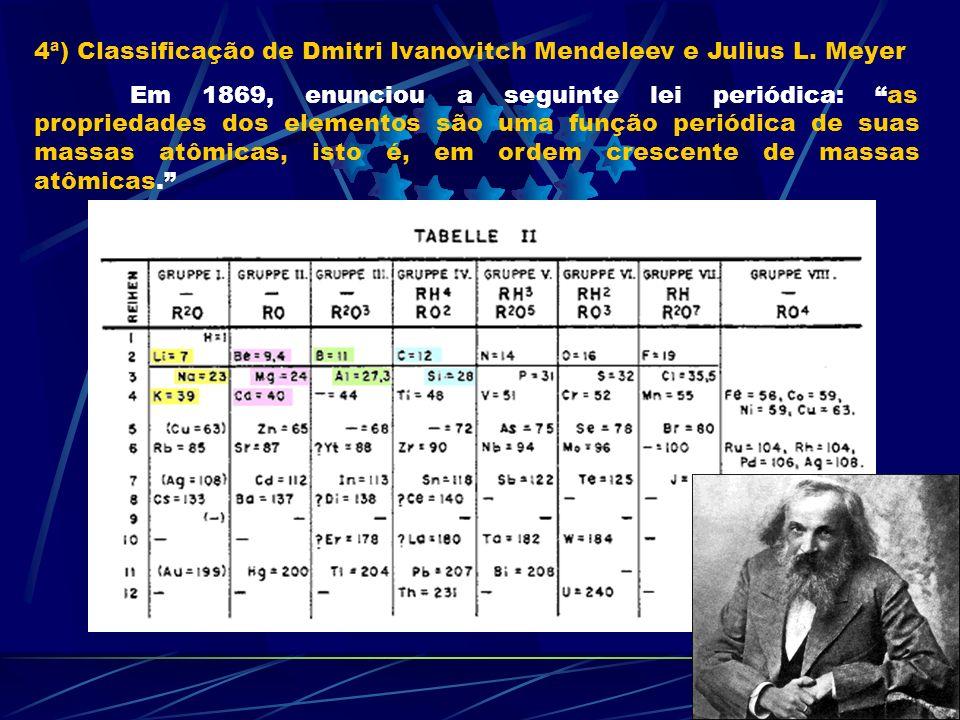 4ª) Classificação de Dmitri Ivanovitch Mendeleev e Julius L. Meyer