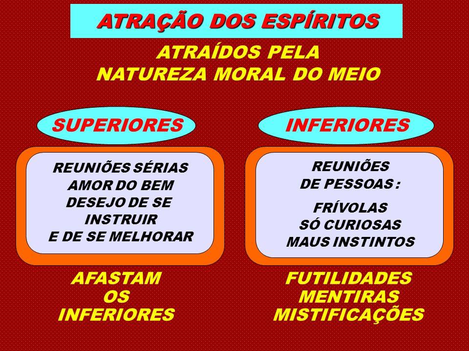 ATRAÇÃO DOS ESPÍRITOS ATRAÍDOS PELA NATUREZA MORAL DO MEIO SUPERIORES