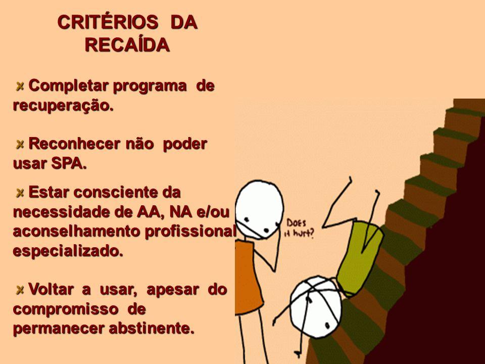 CRITÉRIOS DA RECAÍDA Completar programa de recuperação.