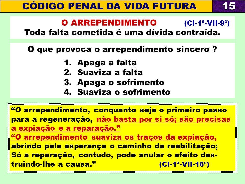 15 CÓDIGO PENAL DA VIDA FUTURA O ARREPENDIMENTO (CI-1ª-VII-9º)