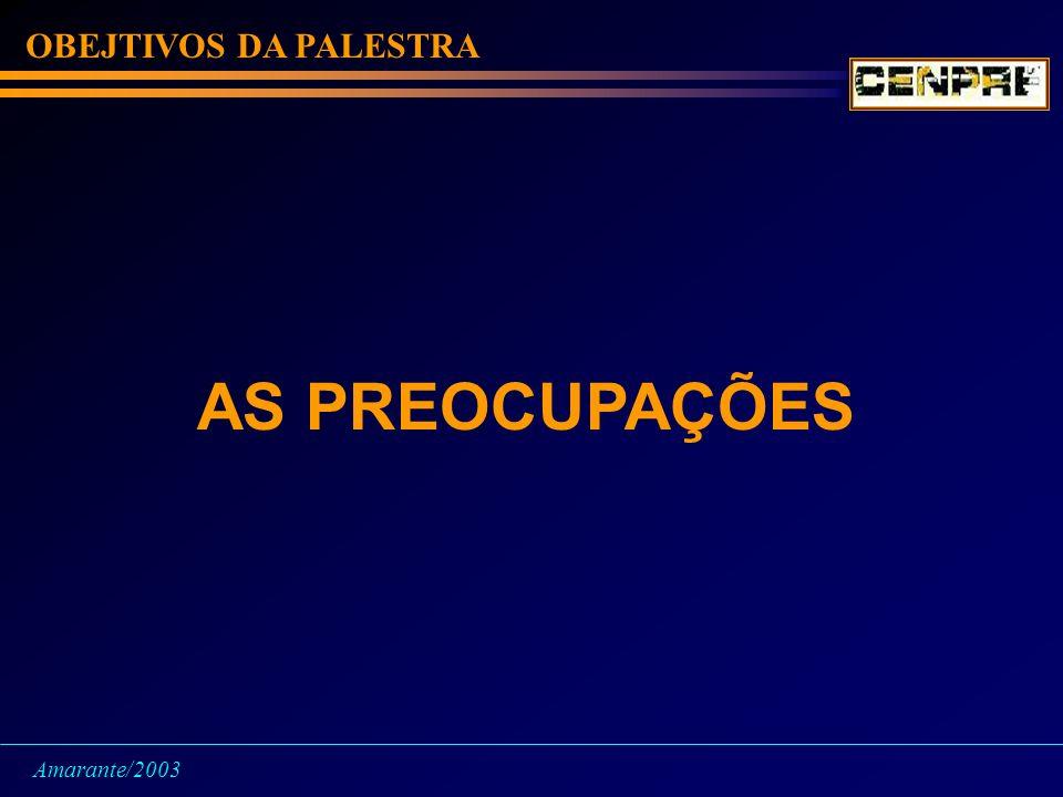 OBEJTIVOS DA PALESTRA AS PREOCUPAÇÕES Amarante/2003