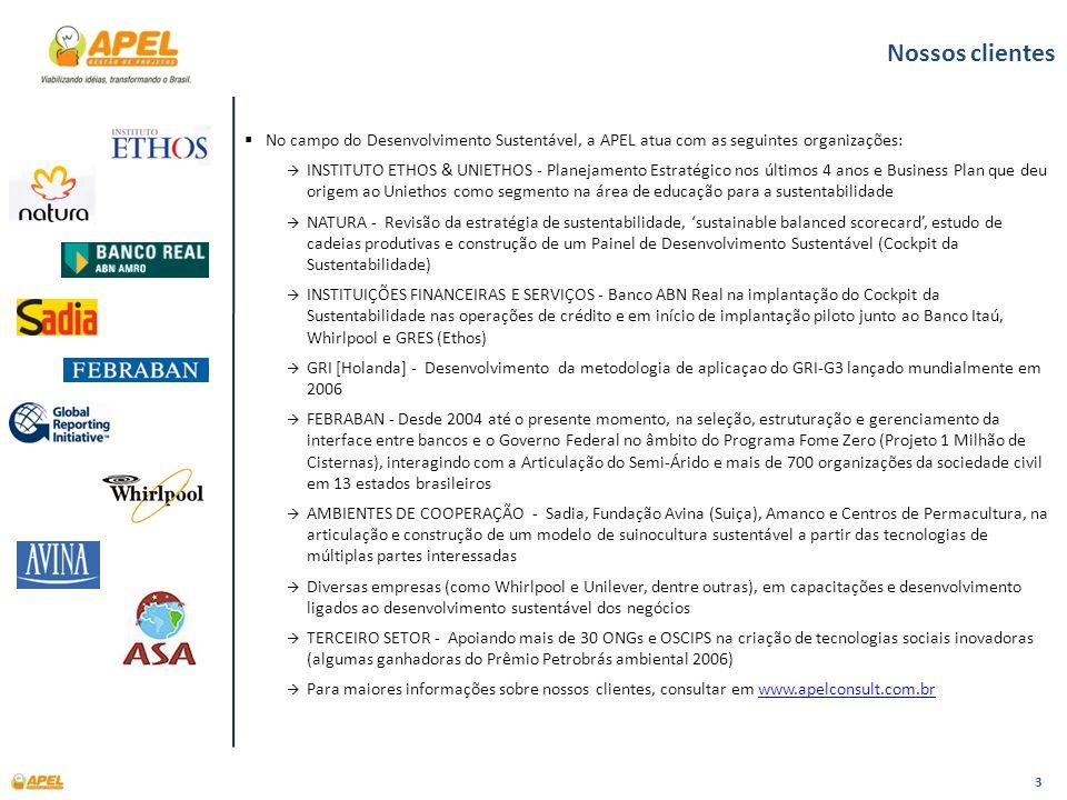 Nossos clientesNo campo do Desenvolvimento Sustentável, a APEL atua com as seguintes organizações: