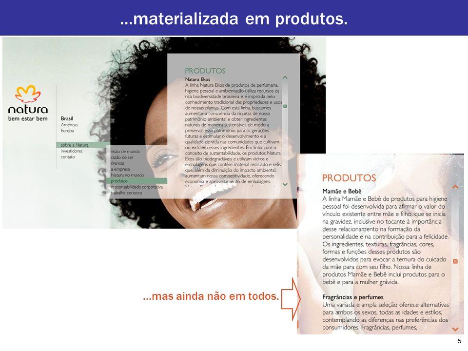 ...materializada em produtos.