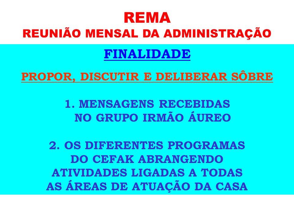 REMA FINALIDADE REUNIÃO MENSAL DA ADMINISTRAÇÃO PARTICIPANTES: