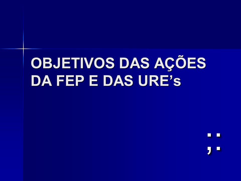 OBJETIVOS DAS AÇÕES DA FEP E DAS URE's