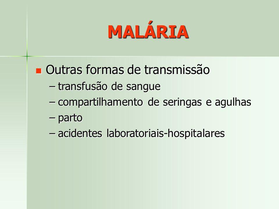 MALÁRIA Outras formas de transmissão transfusão de sangue