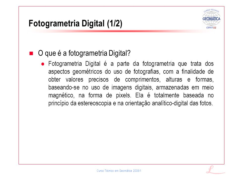 Fotogrametria Digital (1/2)