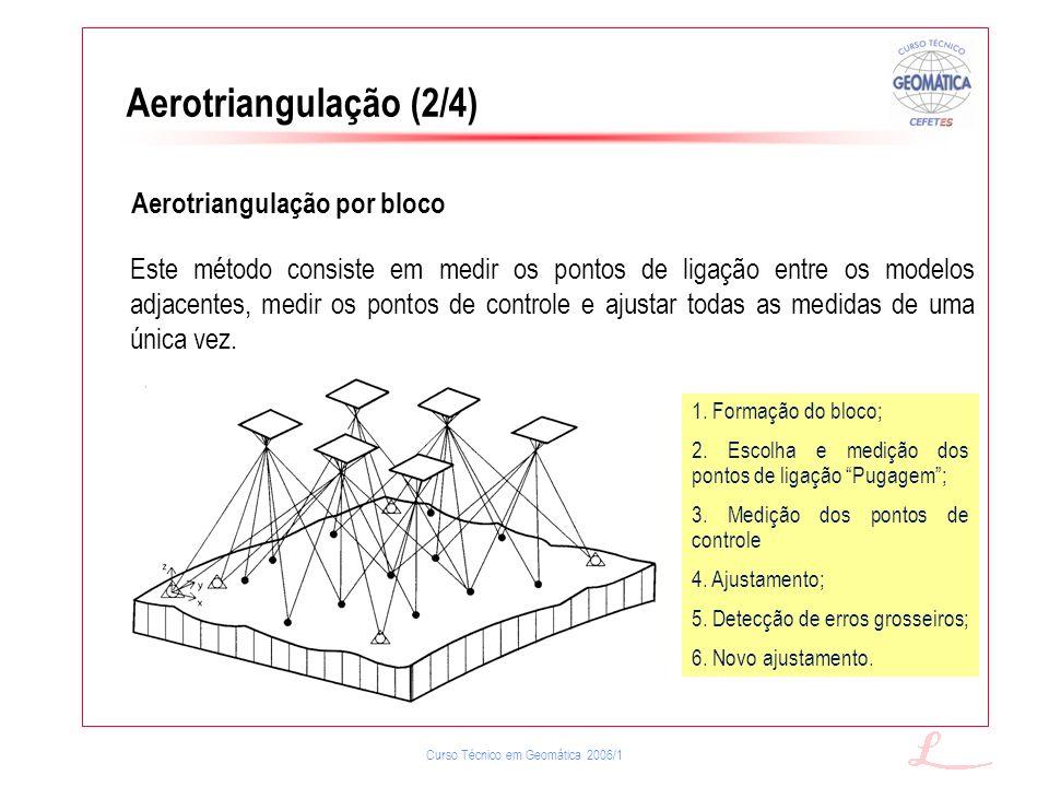 Aerotriangulação (2/4) Aerotriangulação por bloco