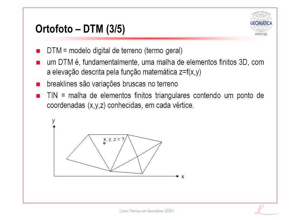 Ortofoto – DTM (3/5) DTM = modelo digital de terreno (termo geral)