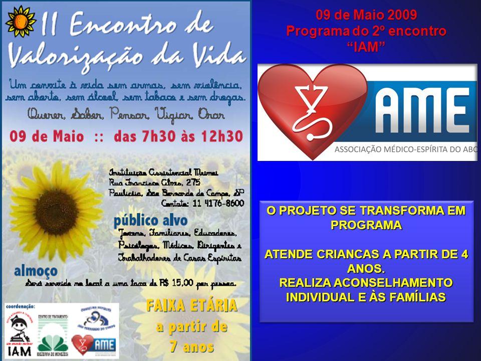 09 de Maio 2009 Programa do 2º encontro IAM