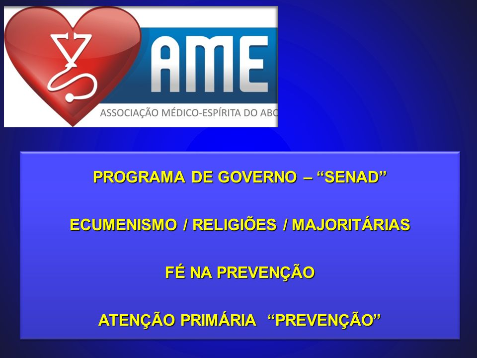 PROGRAMA DE GOVERNO – SENAD ECUMENISMO / RELIGIÕES / MAJORITÁRIAS
