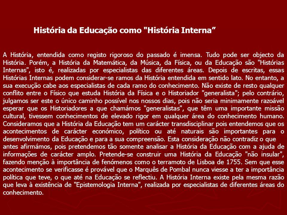 História da Educação como História Interna