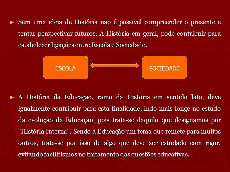 Sem uma ideia de História não é possível compreender o presente e tentar perspectivar futuros. A História em geral, pode contribuir para estabelecer ligações entre Escola e Sociedade.