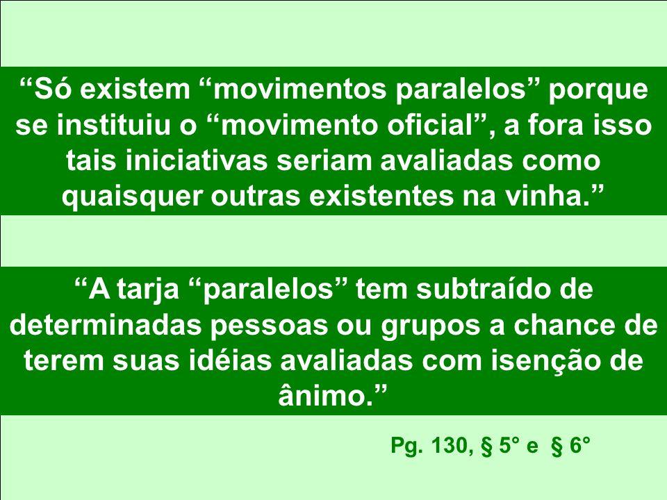 Só existem movimentos paralelos porque se instituiu o movimento oficial , a fora isso tais iniciativas seriam avaliadas como quaisquer outras existentes na vinha.