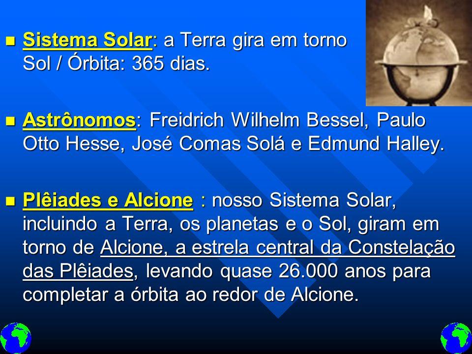 Sistema Solar: a Terra gira em torno do Sol / Órbita: 365 dias.