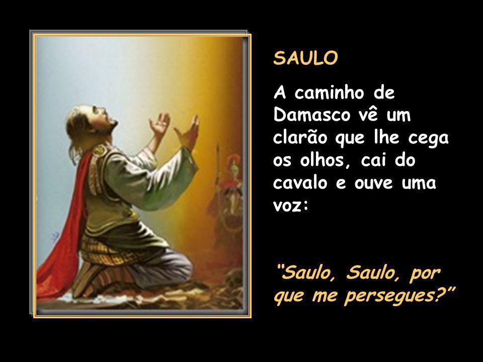 SAULO A caminho de Damasco vê um clarão que lhe cega os olhos, cai do cavalo e ouve uma voz: Saulo, Saulo, por que me persegues