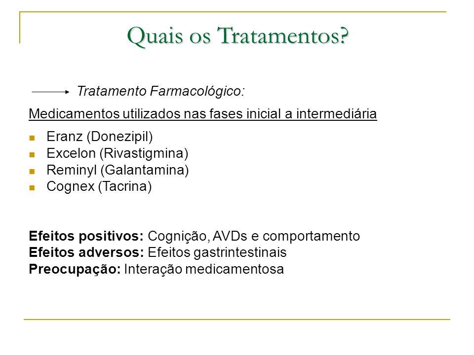 Quais os Tratamentos Tratamento Farmacológico: