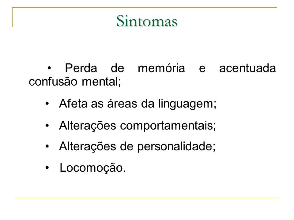 Sintomas • Perda de memória e acentuada confusão mental;