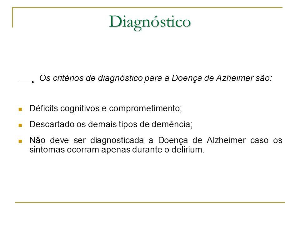 Os critérios de diagnóstico para a Doença de Azheimer são:
