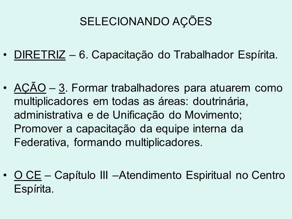 SELECIONANDO AÇÕES DIRETRIZ – 6. Capacitação do Trabalhador Espírita.