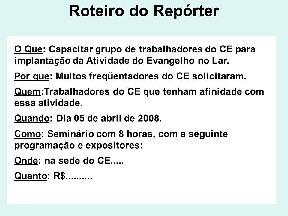 Roteiro do Repórter O Que: Capacitar grupo de trabalhadores do CE para implantação da Atividade do Evangelho no Lar.