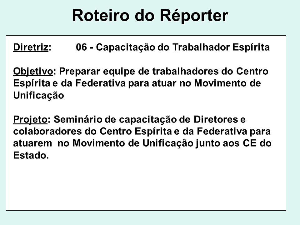 Roteiro do Réporter Diretriz: 06 - Capacitação do Trabalhador Espírita