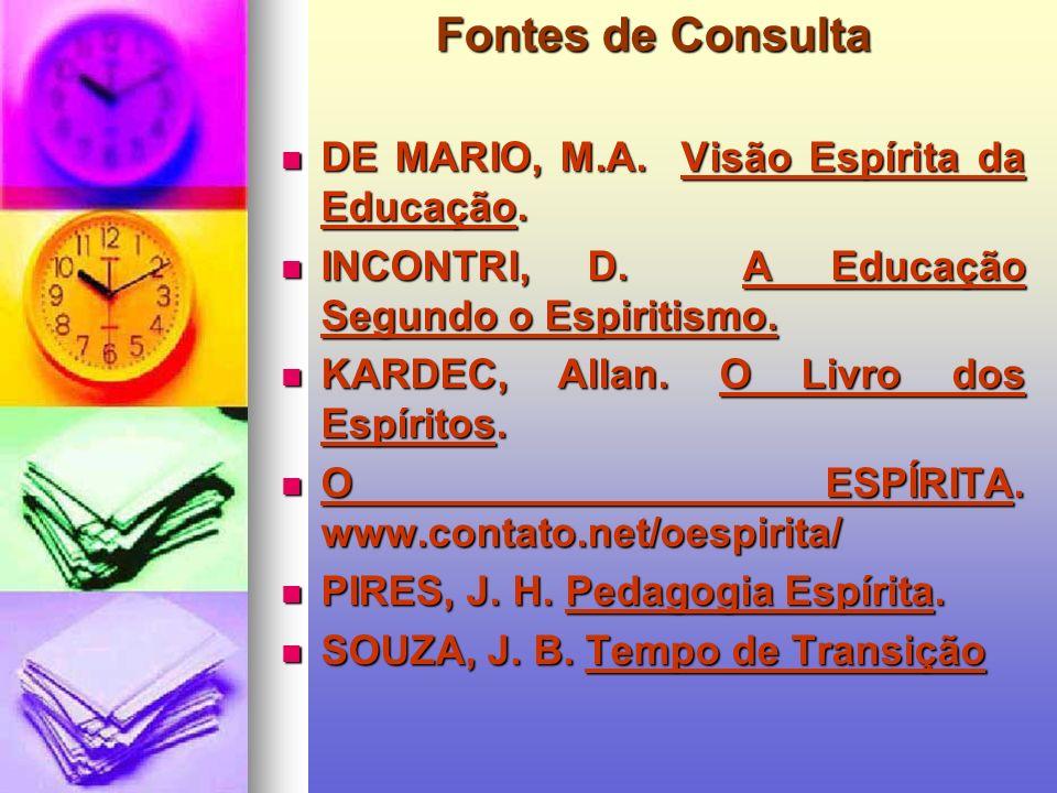 Fontes de Consulta DE MARIO, M.A. Visão Espírita da Educação.