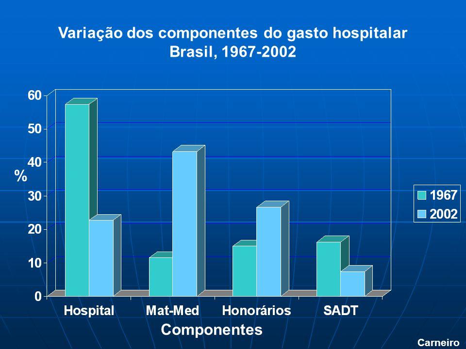 Variação dos componentes do gasto hospitalar