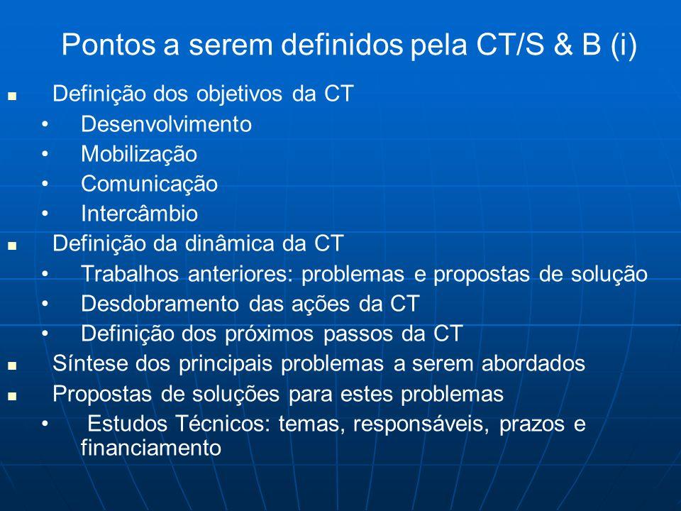 Pontos a serem definidos pela CT/S & B (i)