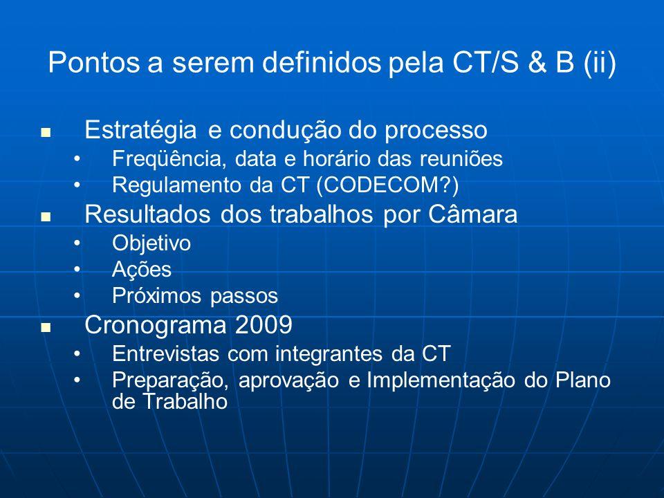 Pontos a serem definidos pela CT/S & B (ii)