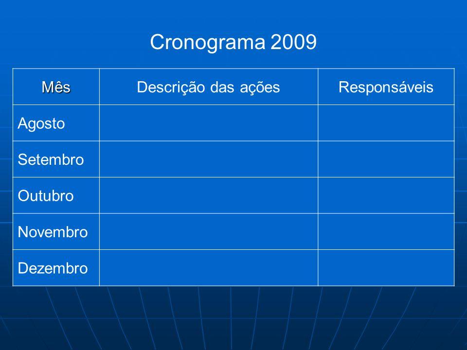 Cronograma 2009 Mês Descrição das ações Responsáveis Agosto Setembro