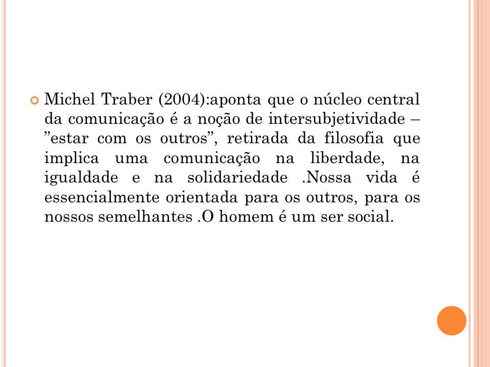 Michel Traber (2004):aponta que o núcleo central da comunicação é a noção de intersubjetividade – estar com os outros , retirada da filosofia que implica uma comunicação na liberdade, na igualdade e na solidariedade .Nossa vida é essencialmente orientada para os outros, para os nossos semelhantes .O homem é um ser social.