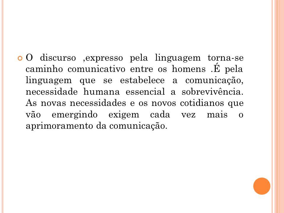 O discurso ,expresso pela linguagem torna-se caminho comunicativo entre os homens .É pela linguagem que se estabelece a comunicação, necessidade humana essencial a sobrevivência.