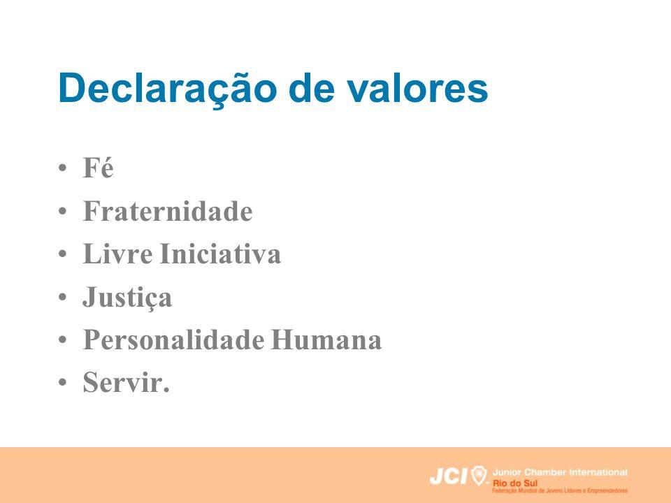 Declaração de valores Fé Fraternidade Livre Iniciativa Justiça