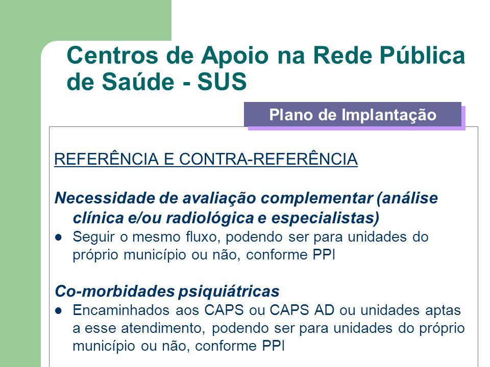 Centros de Apoio na Rede Pública de Saúde - SUS