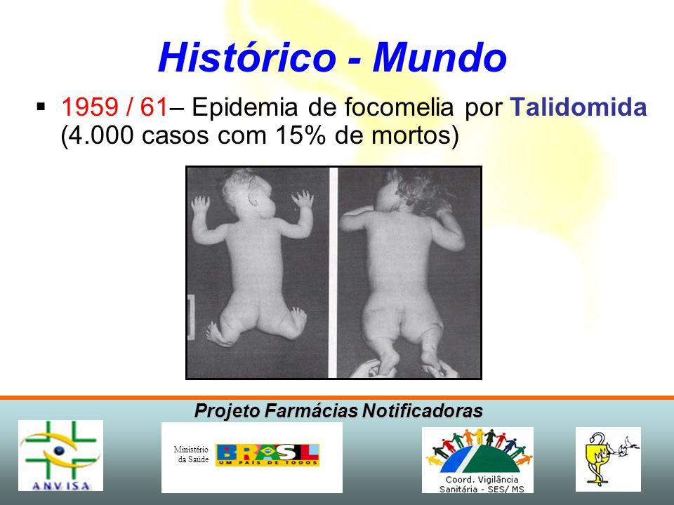 Histórico - Mundo 1959 / 61– Epidemia de focomelia por Talidomida (4.000 casos com 15% de mortos)