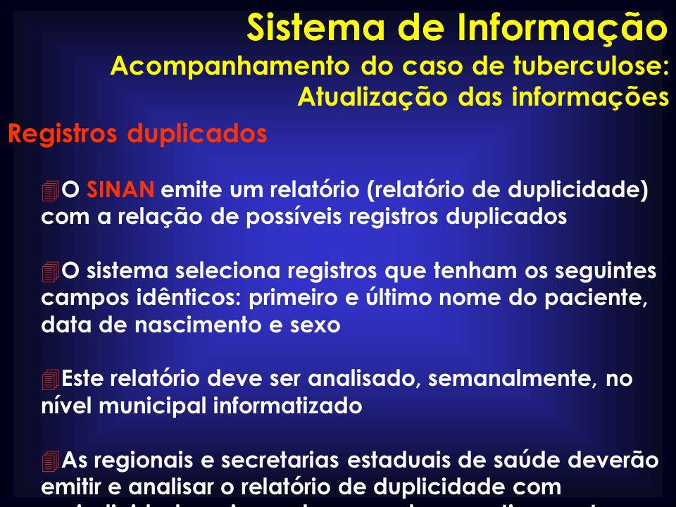 Sistema de Informação Acompanhamento do caso de tuberculose: Atualização das informações. Registros duplicados.