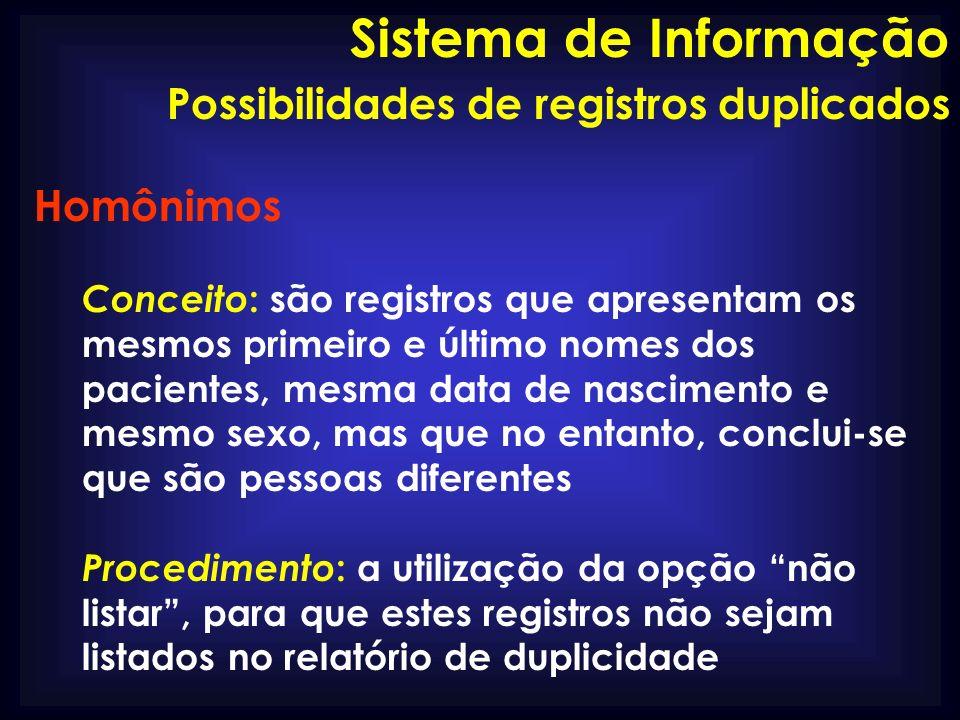 Sistema de Informação Possibilidades de registros duplicados Homônimos